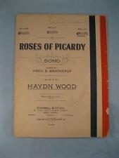 Roses Of Picardy Sheet Music Vintage 1916 Haydn Wood Fred Weatherly Voice (O)