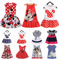 Kids Baby Girls Minnie Mouse Party Dress Summer Vest Skirt Clothes Age 1-7Years