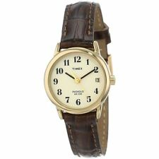 Timex Ladies T20071 Easy Reader Gold Indiglo Classic Brown Leather Strap Watch