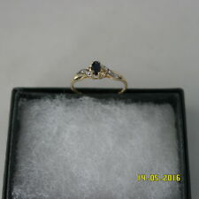 ELEGANT 9KT YELLOW GOLD OVAL SAPPHIRE & DIAMOND RING SIZE O12 IN GIFT BOX