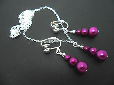 CUTE PURPLE BEAD SILVER PLATED NECKLACE AND CLIP ON EARRING SET. NEW.