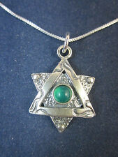 "Artisan Sterling Silver Star of David Green Agate Pendant Necklace 18"" 925 Chain"