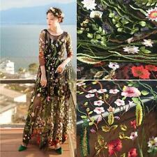 1 Yard Lace Fabric Black Tulle Exquisite Floral Embroidered Dress 39'' wide