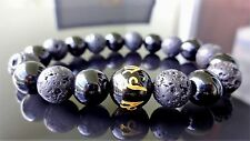 "Genuine Black Onyx & Volcanic Lava Bracelet Men Women 10mm - 7.5"" inch AAA"