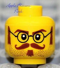 NEW Lego MINIFIG HEAD w/Eye Glasses Brown Moustache Beard - Cavalry/Soldier/Army