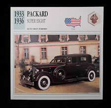 D2 CARD SCHEDA TECNICA AUTO GRAN TURISMO PACKARD SUPER EIGHT 1933/36 U.S.A.