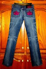 ROCK REPUBLIC KASANDRA SZ 29.5 X 32.25  EMBELLISHED BOOT CUT JEANS FUCHSIA CROWN