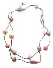 Eco-friendly Shades of Brown Wooden Bead & Black Strand Necklace.(Zx122)