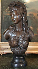 Grecian Goddess Elegant Classic Nude Female Portrait Bust Bronze Marble Statue