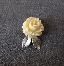 VINTAGE CARVED BOVINE BONE FLOWER SILVER PLATED LEAVES PENDANT