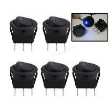 5 X BLUE LED ILLUMINATED ROCKER ON/OFF SWITCH 12V 20A FOR CAR VAN DASH LIGHT SET