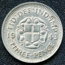 1943 Great Britain 3 Pence Coin (1.41 Grams .500 Silver)