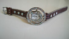 Western Silver Stone Leather Bracelet Cowgirl Bling Horse Shoe Boot  Watch