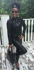 New designer Sold out Bebe mesh ruffled black leather moto jacket coat S 0-4