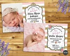 NEWBORN NEW BABY BIRTH ANNOUNCEMENT PERSONALISED CARD PHOTO GIRL FLORAL PRINCESS