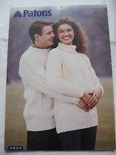 "PATONS KNITTING PATTERN 2345 ARAN LADIES MENS ARAN CABLE JUMPER 32-46"" Free Post"