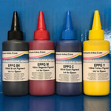 4x100ml PIGMENT INK REFILL FOR EPSON WORKFORCE PRO WP 4500 4515DN 4525DN NON OEM