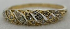 VINTAGE 18K SOLID YELLOW WHITE GOLD &19 CLUSTER DIAMOND BAND RING 1952 / TCW.50