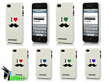 CUSTODIA CASE COVER FOR IPHONE 4 4S I LOVE MOUSTACHE BAFFI RIGIDA SLIM TPU