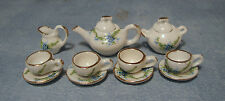 1:12 White Ceramic 11 Piece Tea Set With Floral Motif Dolls House Miniature 2178