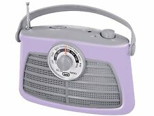 Trevi FM AM Retro Radio With Headphone Socket Purple FREE DELIVERY
