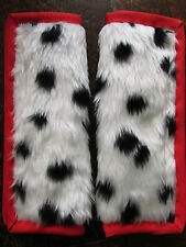 Lightly padded, Faux Black Dalmatian Fur,Car Seat Belt Cover Pads.X2. Red Trim.