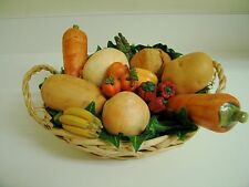 13 pc Assorted Ceramic Vegetables in Basket Some Actual Size Some Small