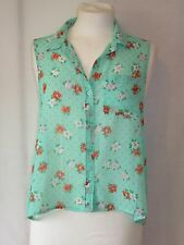 Hollister Green Floral Pink Polka Dot Top Blouse Shirt Size Small 8 - 10