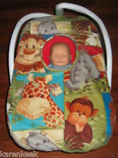 JUNGLE ANIMAL BABIES FLEECE LINED Infant Car Seat Carrier Cover - NEW! monkey