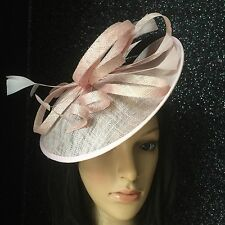 NIGEL RAYMENT BABY PINK WEDDING OCCASION FASCINATOR DISC HAT MOTHER OF THE BRIDE