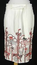 NANETTE LEPORE Pique Cotton Embroidered Pencil Skirt 4 S Red White Floral Border