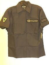 Men's Victory Motorcycle Show Shirt In Charcoal With Patches (Size M) NWT