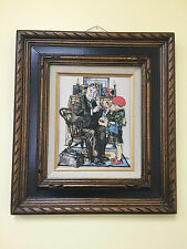 NORMAN ROCKWELL ORIGINAL MARVETTI ETCHED IVORY THE DOCTOR AND THE DOLL