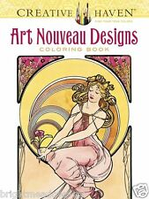 Art Nouveau Ladies Adult Colouring Book Creative Art Therapy Gift Linear Curves