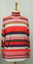 M & S 100% Cashmere Pink Red Blue Berry Striped Polo Neck Jumper 16