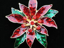 RED GREEN CHRISTMAS TREE POINSETTIA FLOWER PLANT PIN BROOCH JEWELRY PENDANT 1.75