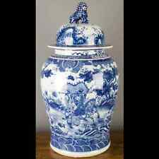 "26"" Chinese oriental porcelain ginger jar  blue & white lion finial warrior"