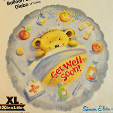 "Get Well Soon Bear Foil Balloon 18"" Round Blue Decoration"