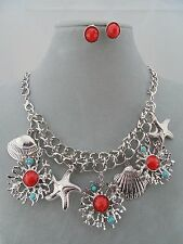 Silver Starfish Ocean Charm Necklace Set Red Fashion Jewelry New