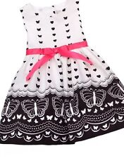 NWT Rare Editions Too Baby Girls Butterfly Heart Boutique Dress 3T White Black