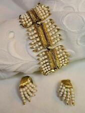 Striking 1950's Crown Trifari Bracelet/Cuff & Earrings set in Gold metal ~Signed