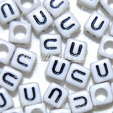 100 White & Black U Letters 6mm alphabet pony beads For Rave Kandi Kids Vowels