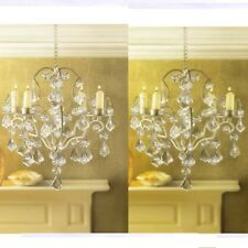 2 Jeweled Chandelier Candle Holder Ivory Wedding Hanging Decor
