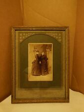 ANTIQUE GOLD CARVED WOOD FRAME W/ CABINET CARD OF 2 VICTORIAN LADIES IN GARDEN!!