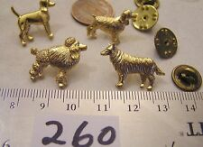Vtg Gold Dog Lapel Pin Poodle Coonhound Cocker Spaniel Golden Retriever Jewelry