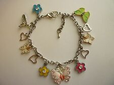 "Silver Tone Charm Bracelet ""Butterflies & Humingbird"" Lobster Clasp ext chain"