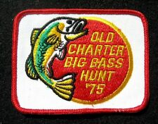 """BASS HUNT EMBROIDERED SEW ON PATCH OLD CHARTER 1975 ANGLER  3 7/8"""" x 3"""""""