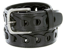"Men's Braided Genuine Leather Casual Jean Belt 1-1/2"" Wide, Black Brown"