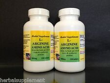 L-Arginine 500mg, High Quality, energy, muscle, Made in USA ~ 240 (2x120)tablets