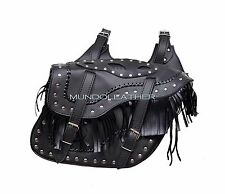 COWBOY SADDLE BAG MOTORCYCLE SISSY BAR CRUISER PANNIERS STUDDED ANGLE LEATHER PU